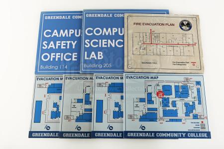 Lot # 100 - Various Episodes: Two Extra Greendale Community College Signs & Five Maps
