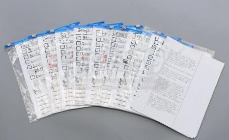 "Lot # 201 - S5E10 - ""Advanced Advanced Dungeons and Dragons"": D&D Character Sheet and Note Extras"