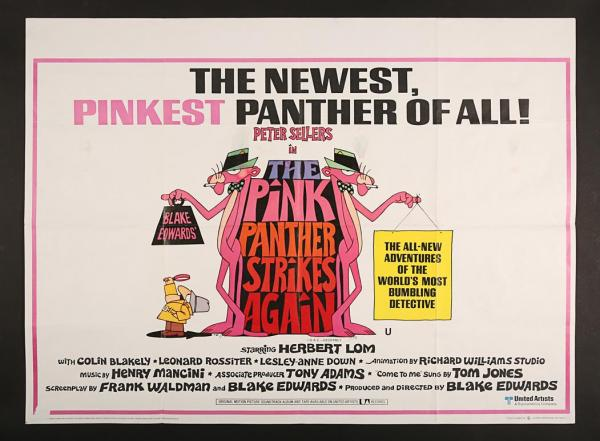 Lot #328 - THE PINK PANTHER STRIKES AGAIN (1976) - UK Quad Poster 1976 -  Price Estimate: $50 - $100