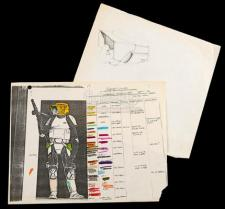 STAR WARS - EP VI - RETURN OF THE JEDI (1983) - Hand-Drawn Biker Scout Helmet Sketch and Coloured Costume Reference Sheet
