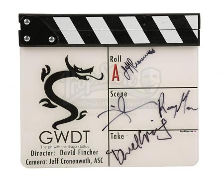 Lot #307 - THE GIRL WITH A DRAGON TATTOO (2011) - Autographed Clapperboard