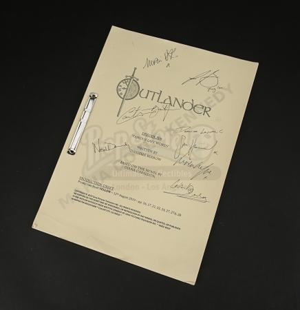 Lot #3 - Outlander Charity Script Auction - Maria Doyle Kennedy's Cast Autographed Script - Episode 508 'Famous Last Words' Yellow Draft