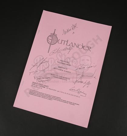 Lot #7 - Outlander Charity Script Auction - Maria Doyle Kennedy's Cast Autographed Script - Episode 501 'The Fiery Cross' Pink Draft