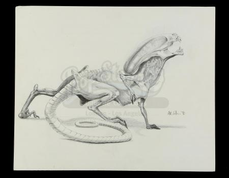 Lot #31 - ALIEN3 (1992) - Hand-Drawn Runner Illustration by Alec Gillis
