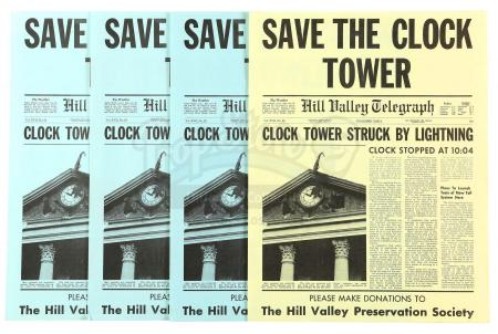 Lot #83 - BACK TO THE FUTURE (1985) - Set of Four Save the Clock Tower Flyers
