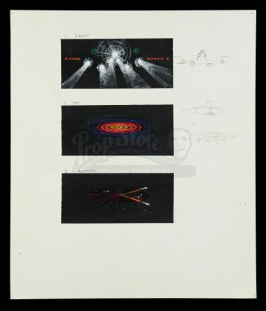 Lot #167 - CLOSE ENCOUNTERS OF THE THIRD KIND (1977) - Hand-Painted Alien Ship Lighting VFX Concept Illustrations