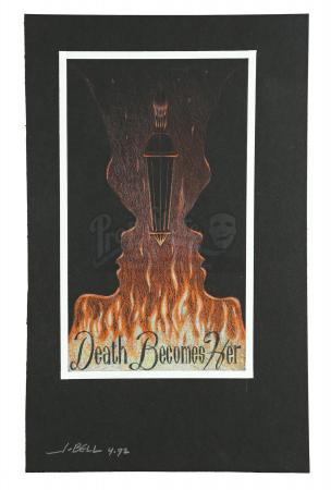 Lot #194 - DEATH BECOMES HER (1992) - Hand-Drawn John Bell Poster Concept