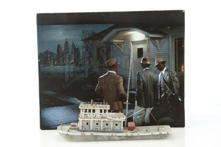 Lot #321 - HARLEM NIGHTS (1989) - Hand-Painted Rocco Gioffre Matte Concept Painting and Tugboat Model Miniature