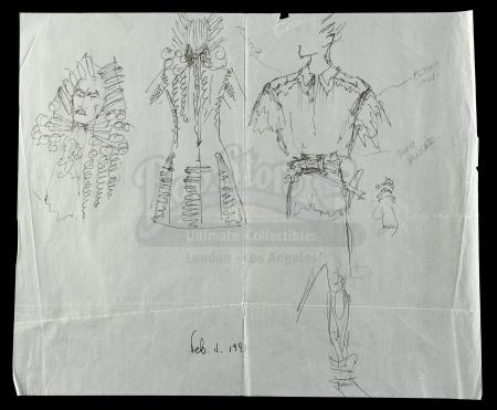 Lot #341 - HOOK (1991) - Hand-Drawn Anthony Powell Pan and Hook Costumes Concept Sketch