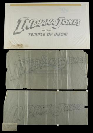 Lot #361 - INDIANA JONES AND THE TEMPLE OF DOOM (1984) - Two Hand-Drawn and One Printed Title Card Lettering Illustrations