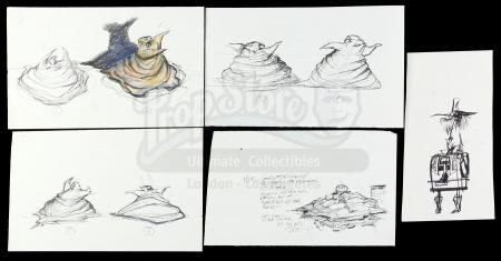 Lot #500 - NIGHTMARE BEFORE CHRISTMAS, THE (1993) - Set of Hand-Drawn Oogie Boogie (Ken Page) Melting Concept Art