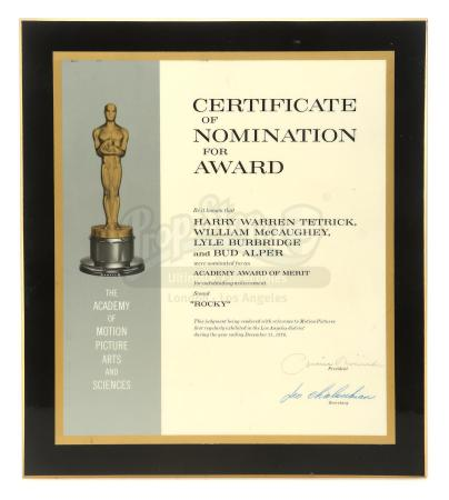 Lot #568 - ROCKY (1976) - Academy Award Nomination Certificate Plaque