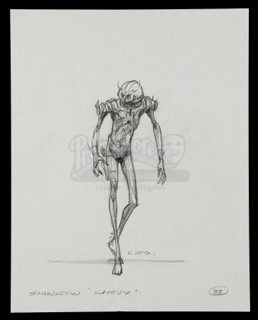 Lot #581 - SHOWSCAN (CHEVY COMMERCIAL, 1987) - Hand-Drawn Ralph McQuarrie Alien Sketch