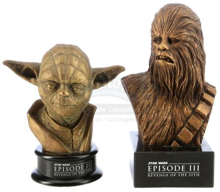 Lot #665 - STAR WARS: REVENGE OF THE SITH (2005) - Industrial Light & Magic (ILM) Chewbacca and Yoda Statue Crew Gifts