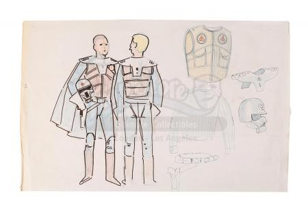 Lot #679 - STAR WARS: A NEW HOPE (1977) - Hand-Drawn Early Rebel Soldier Concept by John Mollo
