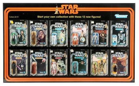 Lot #691 - STAR WARS: A NEW HOPE (1977) - Set of 12 Vintage Kenner Action Figures in Custom Frame