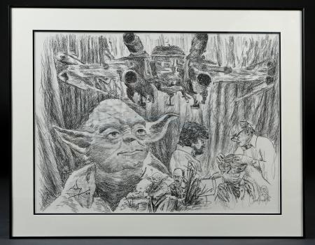 "Lot #709 - STAR WARS: THE EMPIRE STRIKES BACK (1980) - ""Memories of Dagobah"" Hand-Drawn Artwork by Nick Maley"