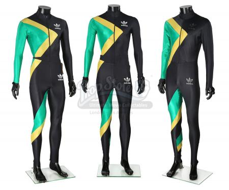 COOL RUNNINGS (1993) - Derice (Leon), Sanka (Doug E. Doug) and Stunt Jamaican Bobsled Team Suits