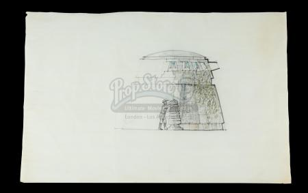 INDIANA JONES AND THE RAIDERS OF THE LOST ARK (1981) - Norman Reynolds Hand-Drawn Idol Chamber Concept Artwork