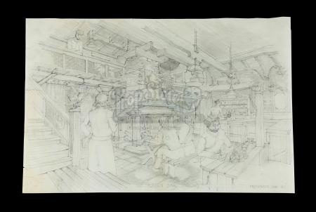 INDIANA JONES AND THE RAIDERS OF THE LOST ARK (1981) - Norman Reynolds Hand-Drawn Raven Bar Interior Concept Artwork