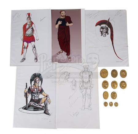 Lot #9 - ALEXANDER (2004) - Hand-Drawn Alexander (Colin Farrell) Costume Sketches, Printed Character Concept Designs, and Gold Coins