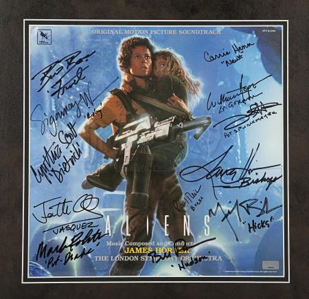 Lot #18 - ALIENS (1986) - Framed Cast-Autographed Soundtrack Cover