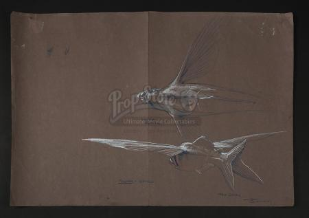PIRANHA PART TWO: THE SPAWNING (1981) - James Cameron Hand-Drawn Piranha Illustration