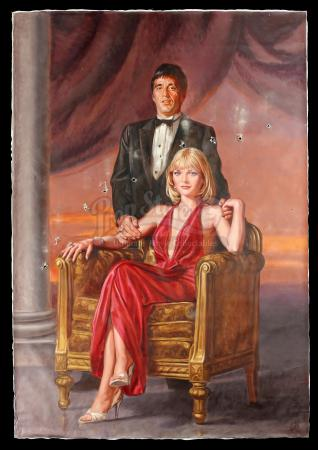 SCARFACE (1983) - Hand-Painted Mansion Portrait of Tony Montana (Al Pacino) and Elvira Hancock (Michelle Pfeifer)
