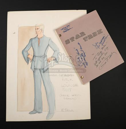 STAR TREK (TV 1966-1969) - Robert Fletcher Hand-Painted Captain Kirk Costume Design and 'The Cage' Autographed Script