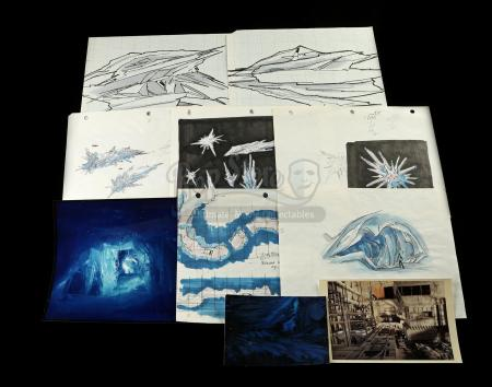 STAR WARS: STAR TOURS (1986) - Hand-Drawn Asteroid Ice Cave Drawings and Model Photographs