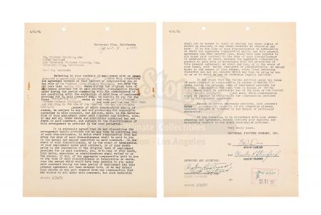 Lot #875 - VARIOUS PRODUCTIONS - 1954 Universal Studios Contract Signed by Clint Eastwood