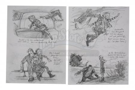 Lot #879 - WAR OF THE WORLDS (2005) - Hand-drawn Robin Richesson Ferry Crossing Pencil Storyboards