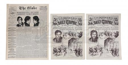 Lot #897 - THE WOLFMAN (2010) - Set of Three Wolfman Escape Newspapers