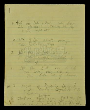 Lot #307 - THE GOONIES (1985) - Steven Spielberg's Personal Handwritten Dialogue and Shot Notes