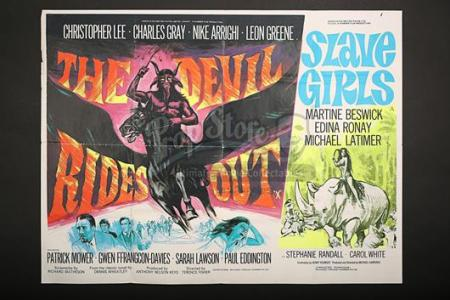 THE DEVIL RIDES OUT (1968) / SLAVE GIRLS (1967) - UK Quad Poster (c' 1969-70)