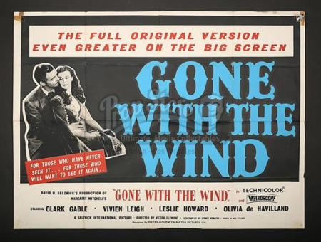 GONE WITH THE WIND (1939) - UK Quad Poster (1957)