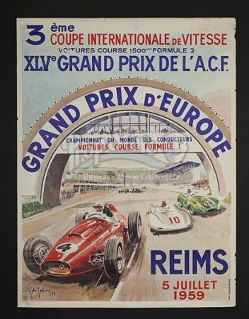 GRAND PRIX D'EUROPE (1959) - Grand Prix D'Europe French Poster (1959)