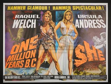 ONE MILLION YEARS B.C. (1966) / SHE (1965) - UK Quad Poster (c' 1967-68)
