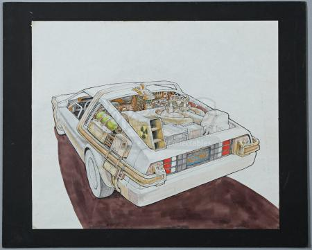 BACK TO THE FUTURE (1985) - Ron Cobb Hand-Drawn DeLorean Coloured Exterior Artwork