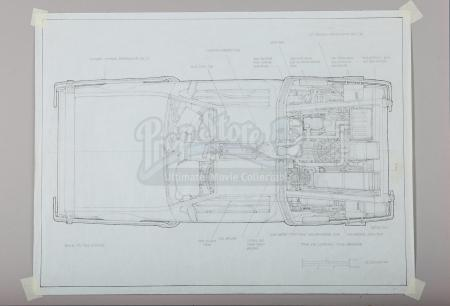 BACK TO THE FUTURE (1985) - Ron Cobb Hand-Drawn DeLorean Time Machine Overhead Plan Artwork