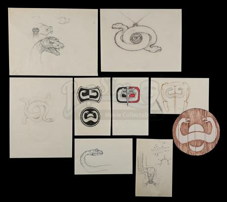 CONAN THE BARBARIAN (1982) - Ron Cobb Hand-Drawn Set Emblem, Amulet and Giant Snake Designs