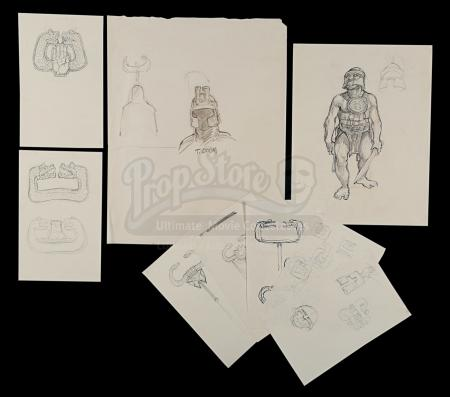CONAN THE BARBARIAN (1982) - Ron Cobb Hand-Drawn Thulsa Doom Helmet, Set Temple Guard and Standard Designs
