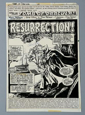 DRACULA / TOMB OF DRACULA (1977) - Gene Colan and Tom Palmer Hand-Drawn Page One Title Splash Artwork