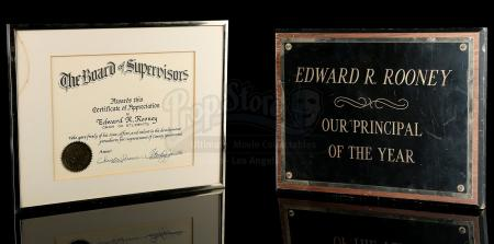 FERRIS BUELLER'S DAY OFF (1986) - Edward Rooney's (Jeffrey Jones) Certificate of Appreciation and Plaque