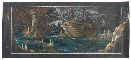 THE GOONIES (1985) - Dave Carson Hand-Drawn One-Eyed Willy's Ship Pastel Concept Artwork