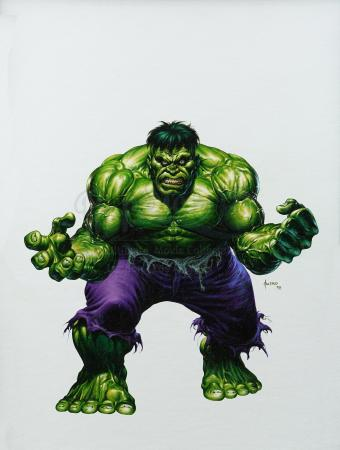 HULK - UNIVERSAL ORLANDO - INCREDIBLE HULK COASTER (1998) - Joe Jusko Hand-Painted Hulk Artwork
