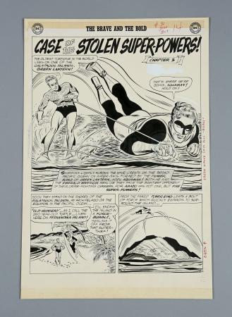 THE JUSTICE LEAGUE / BRAVE AND THE BOLD #30 (1960) - Mike Sekowsky and Bernard Sachs Hand- Drawn Page 12 Chapter 3 Splash Artwork