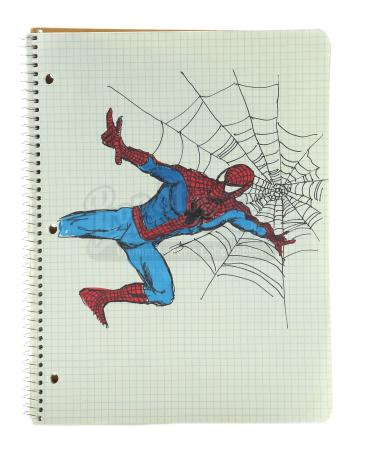SPIDER-MAN (2002) - Peter Parker's (Tobey Maguire) Hand-Drawn Spider-Man Costume Notebook