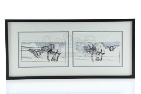 STAR WARS: THE EMPIRE STRIKES BACK (1980) - Dave Carson Hand-Drawn Imperial Walker Storyboards