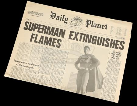 "SUPERMAN III (1983) - ""Superman Extinguishes Flames"" Daily Planet Newspaper"